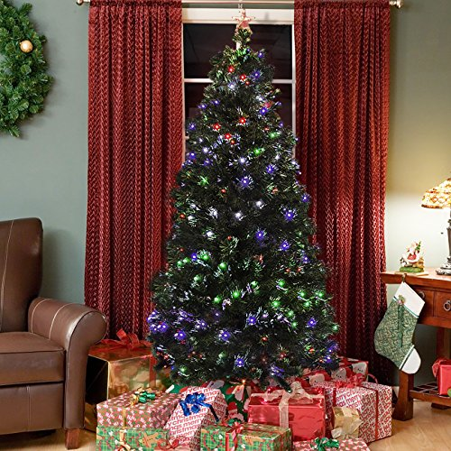 Best Choice Products Pre-Lit Fiber Optic 7' Green Artificial Christmas Tree with LED Multicolor Lights and - Color Led Lit Pre
