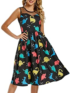 da5076408ba9 Nicetge Women's Vintage Sleeveless Starry Night Sky Planet Print Dress A  Line Cocktail Party Dress