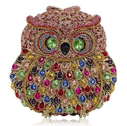 XYXM Sra. Clutch Owl Paquete de lujo hecho a mano de la cena del diamante Paquete del paquete / del banquete del taladro lleno cristalino de alto grado , blue color