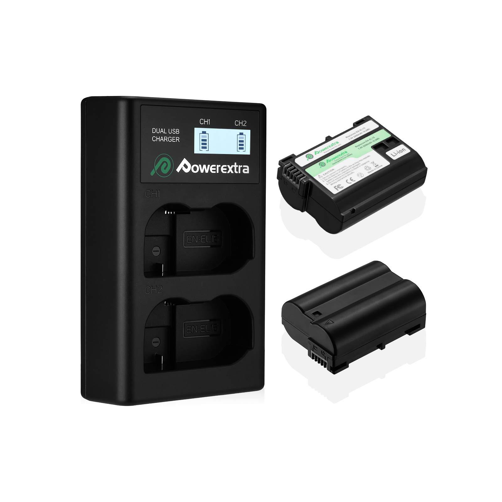 Powerextra 2 x 2200mAh EN-EL15 batteries and Charger with LCD Display Compatible with Nikon Z6, Z7, D850, D810, D810A, D800, D800E, D7500, D7200, D7100, D7000, D750, D810, D610, D600, D500