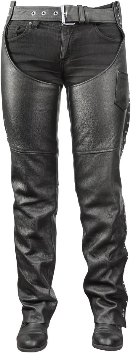 16 Xelement XS-1110 Womens Dixie Black Leather Chaps