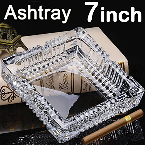 BSWEEII Large Square Glass Ashtrays for Cigars and Cigarettes Big Ashtray Outdoor for Patio Tabletop Decorative Ashtrays for Home Outside Indoor Restaurant Cigar Ashtrays for Men 7inch by BSWEEII
