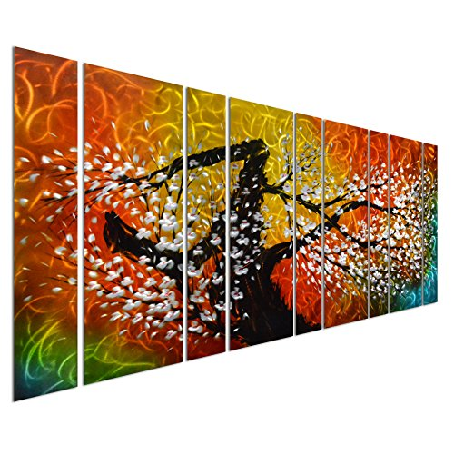 Pure Art Gigantic Tree of Life Metal Wall Art Decor, Oversize Colorful 3D Artwork for Modern, Contemporary and Traditional Decor, 9-Panels Measures 86''x 32'', Great for Indoor and Outdoor by Pure Art