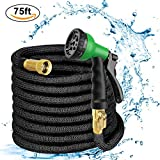 Garden Hose 75 feet, 2018 Upgrade Expandable Water Hose with Durable Two Latex Core for Watering, Washing, 3/4'' Solid Brass Fittings, High Density Knitted Fabric Cover, 8 Function Spray Nozzle