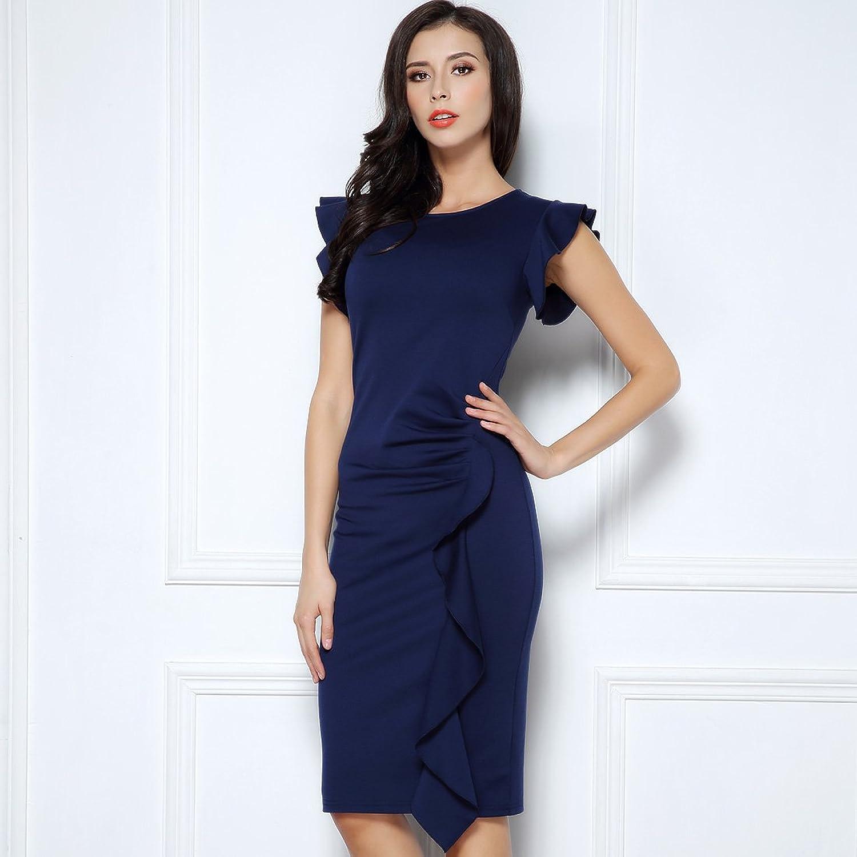 Amazon.com: Miusol Women\'s Business Retro Ruffles Cap Sleeve Slim ...