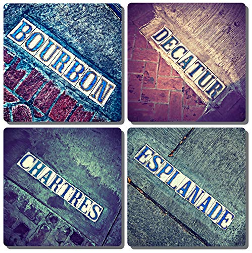 - EXIT82ART - Stone Drink Coasters (Set of 4). New Orleans French Quarter Iconic Tiles Street Signs. Tumbled Stone, Cork-backed.