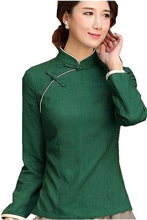 Amazon Shanghai Story Chinese Shirt Long Sleeve Tang Qipao Top