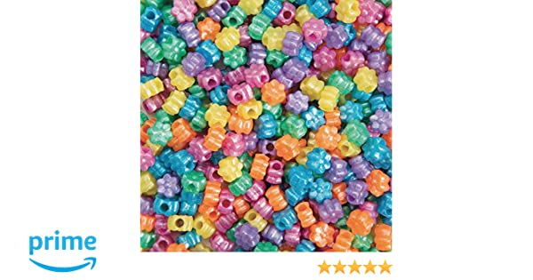 Flower Pony Bead Assortment Color Splash Bag of 600