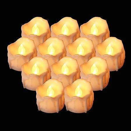 12Pcs Velas de Té LED, Vela Luz Parpadeo con Pilas Sin Llama ...