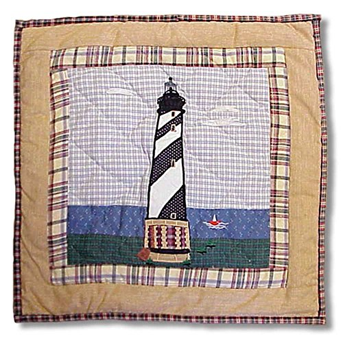 Patch Magic Lighthouse by Bay Blk/White Toss Pillow, 16-Inch by 16-Inch
