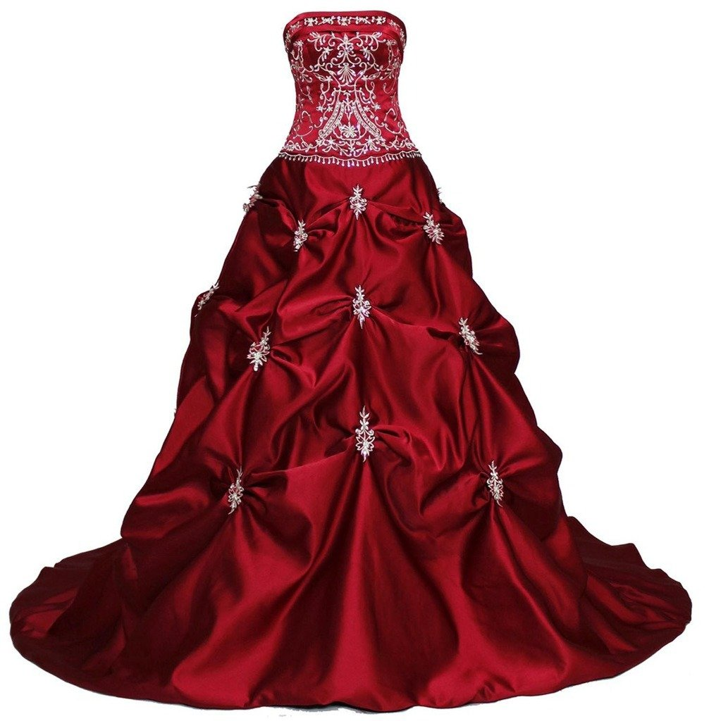 RohmBridal Women's Strapless Embroidery Burgundy Wedding Dress Size 26