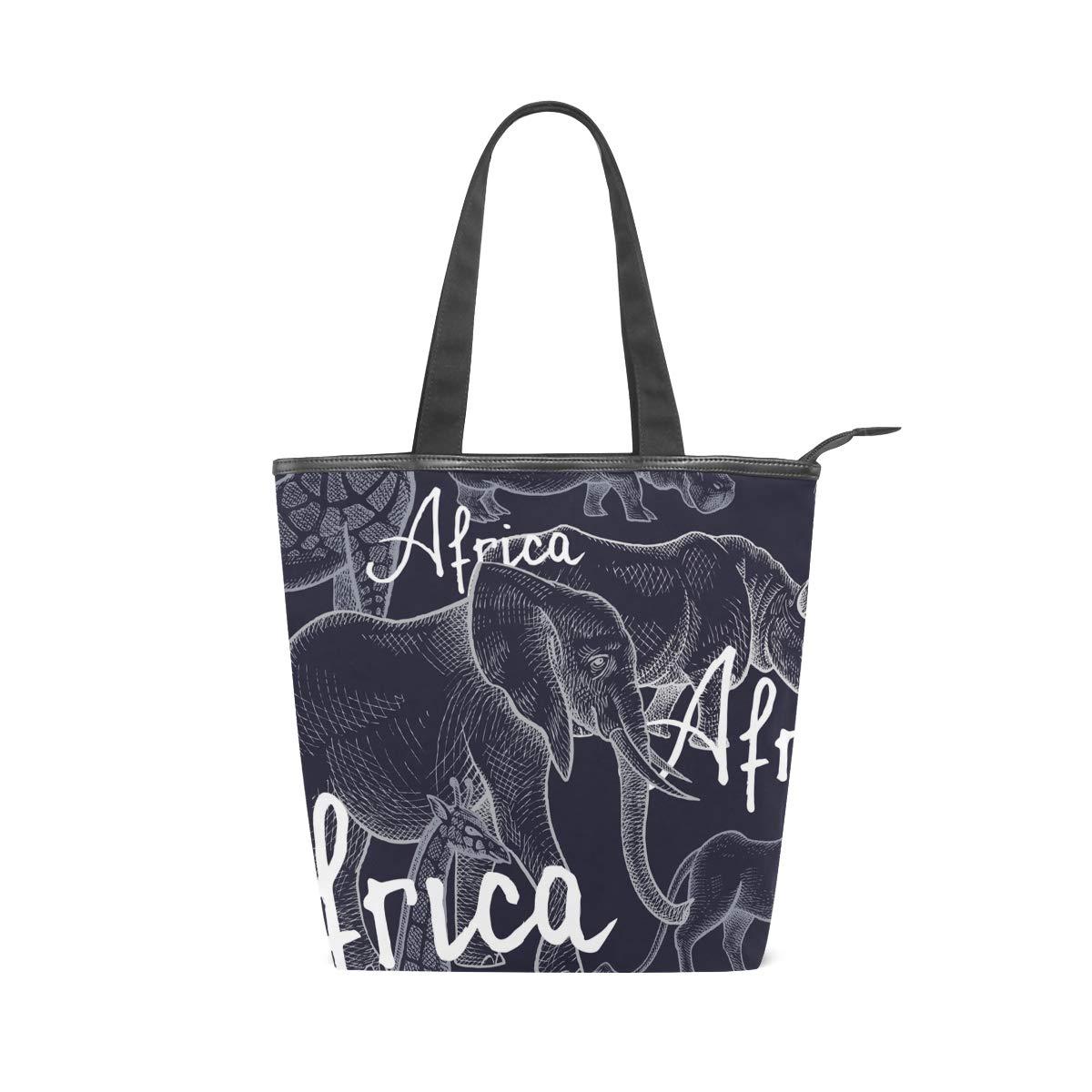 112dd5944e4e Amazon.com: IMOBABY African Elephant Canvas Large Shopping Tote Bag ...