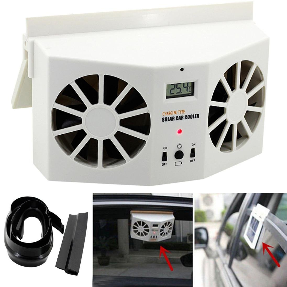 Transer Solar Powered Car Window Air Vent Ventilator Mini Air Conditioner Cool Fan (White)