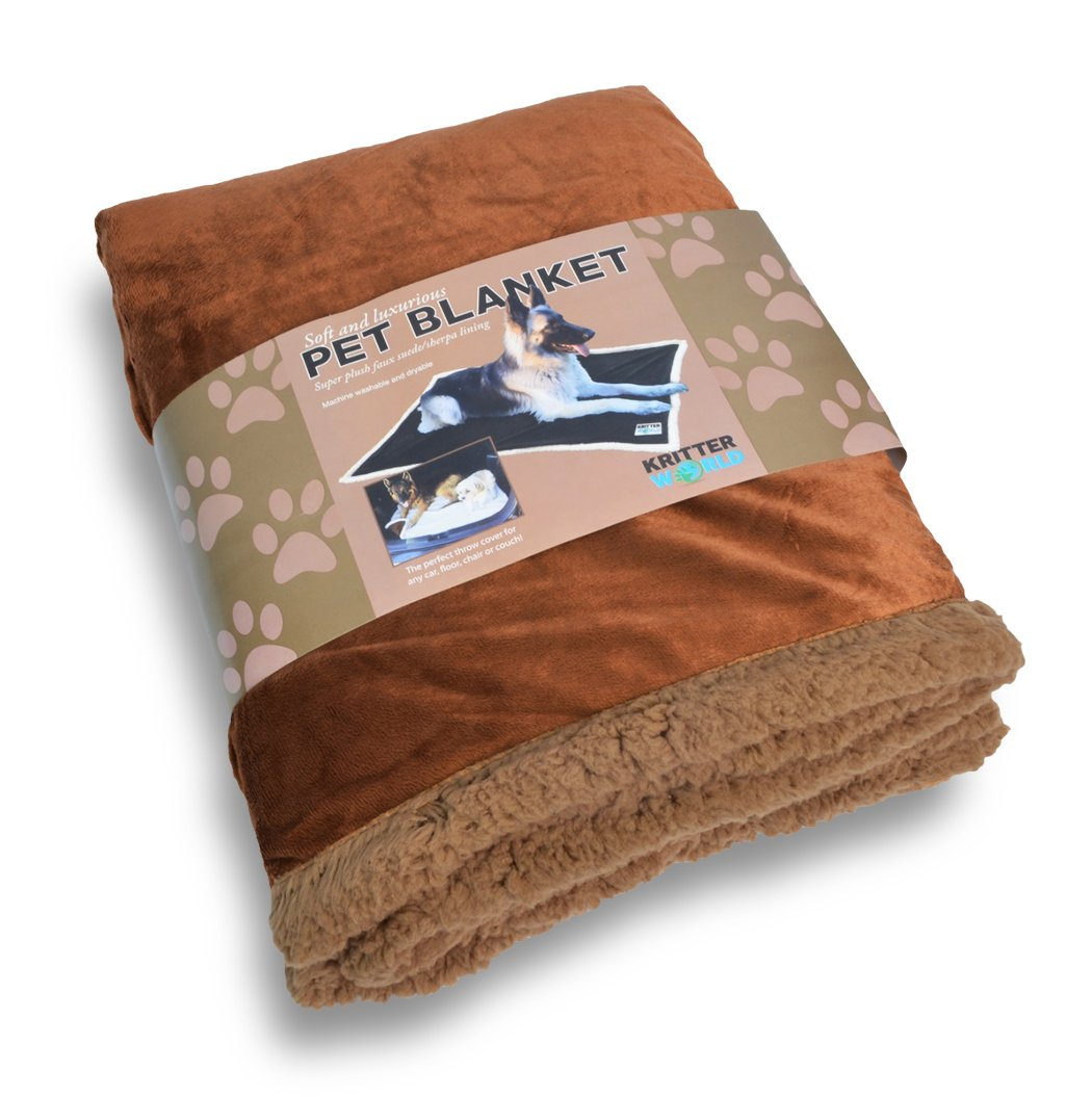 KritterWorld Pet Dog Cat Puppy Kitten Microplush Sherpa Snuggle Blanket for Couch, Car, Trunk, Cage, Kennel, Dog House, 45'' x30'' Dark Brown/Brown by KritterWorld (Image #3)