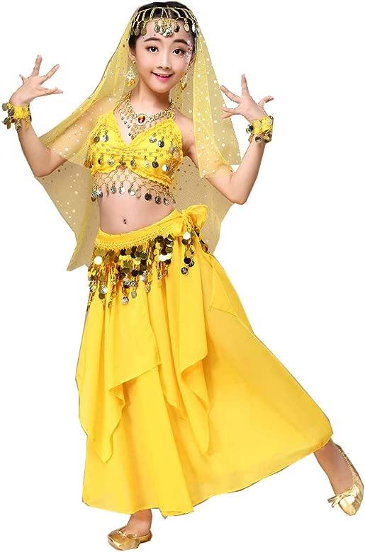 Gaga city 3/7 PCS Traje Danza del Vientre Niña Carnaval Lentejuelas Danza Vestido India Halloween Disfraz