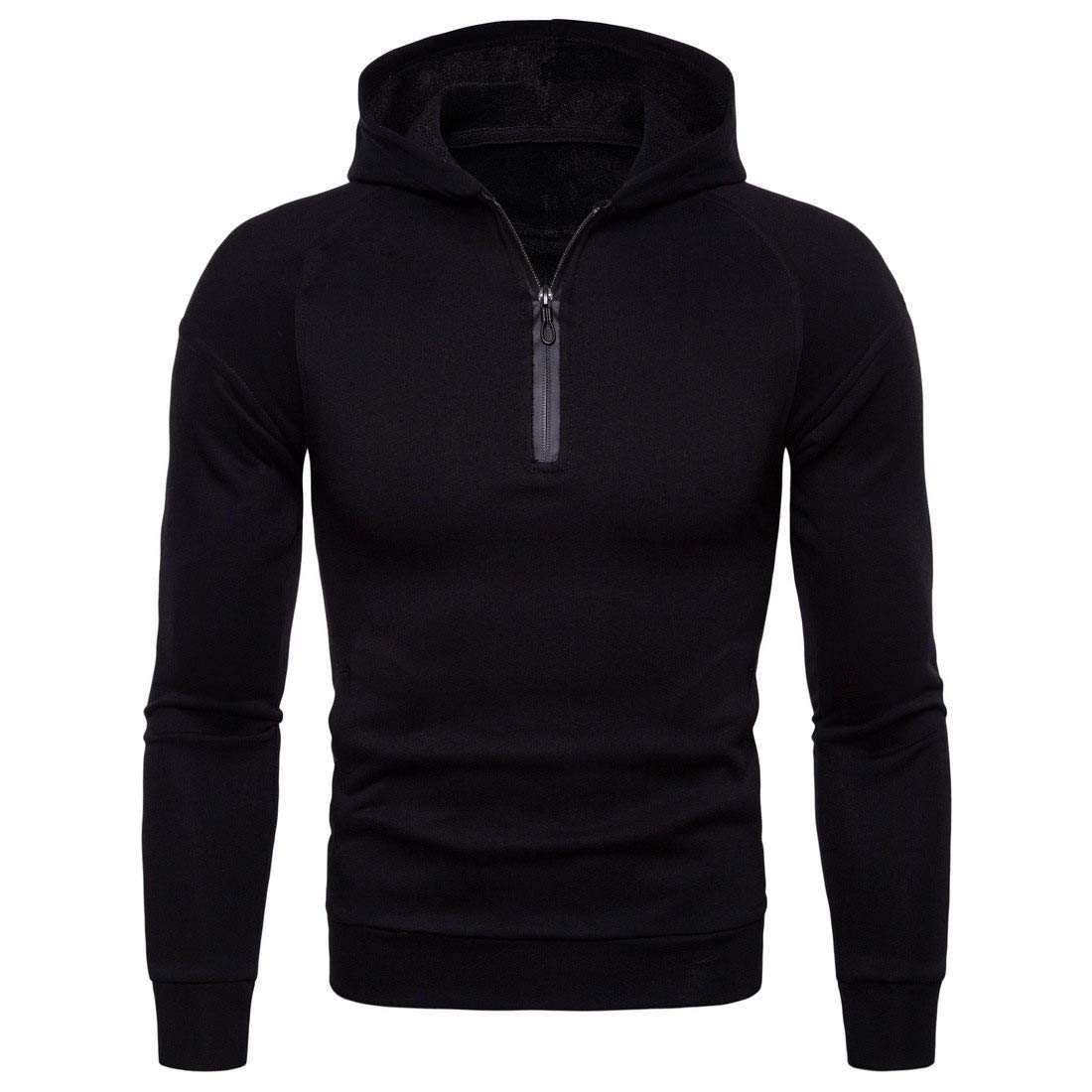Abetteric Mens Solid Color Long-Sleeve Zipper Cozy T-Shirts Sweatshirt Hoodies
