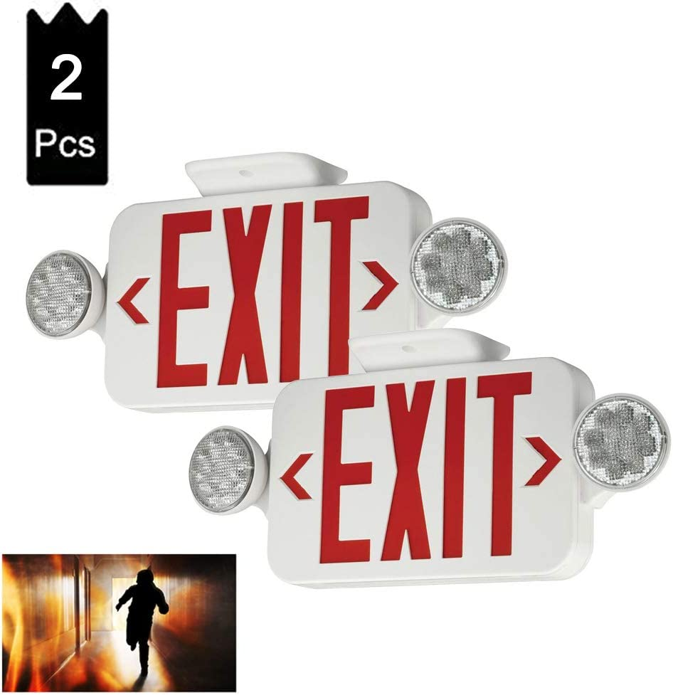 (2 Pack) UL Certified LED Round Emergency Light Exit Sign Hardwired Compact Combo with 2 Adjustable Head Lights,Red Emergency Exit Lighting Commercial Grade High Output 61ii73CNvdL