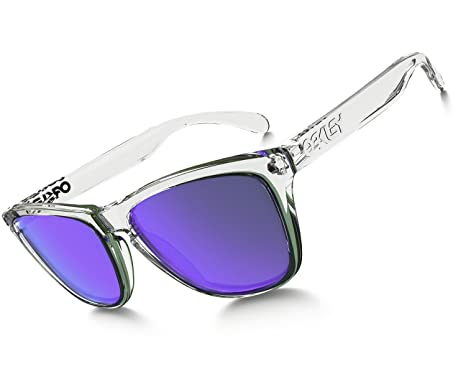 328f13c342 Oakley Frogskin Sunglasses One Size Polished Clear ~ Violet Iridium   Amazon.co.uk  Clothing