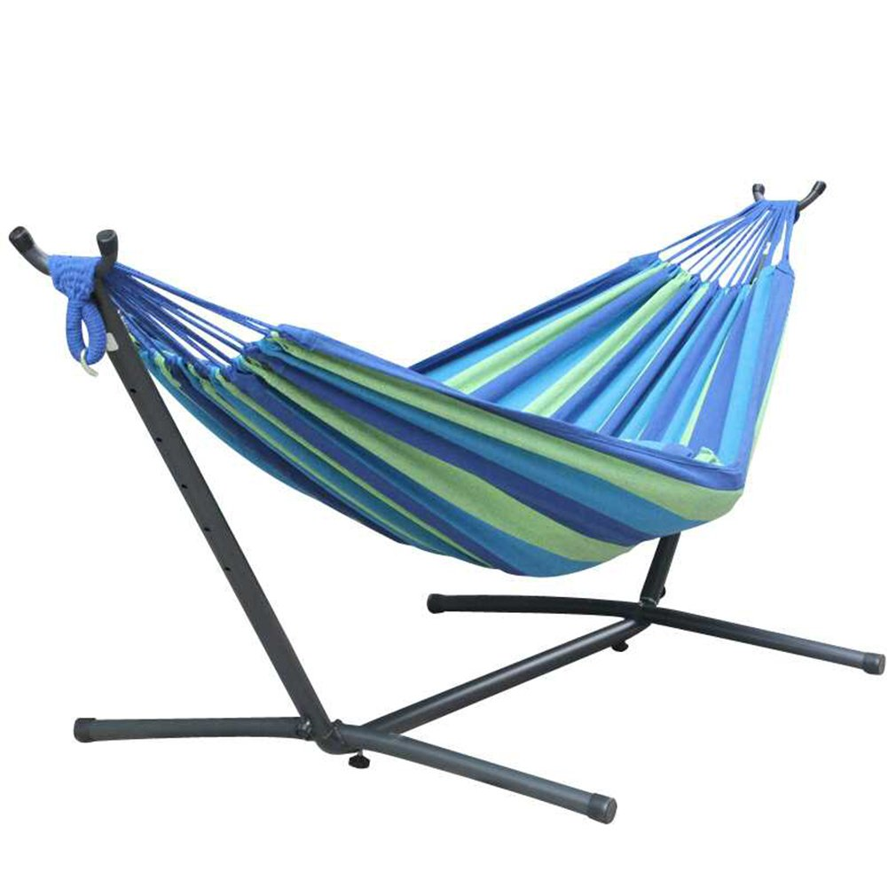 Toytexx Double Hammock with Space Saving Steel Stand Includes Portable Carrying Bag-Blue Color