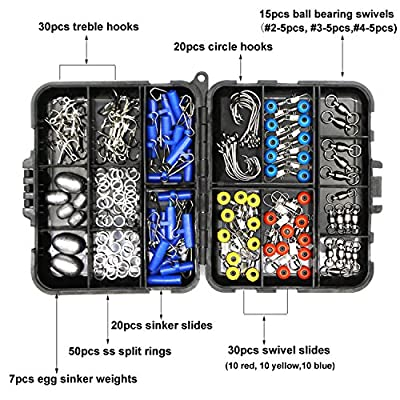 Fishing Accessories Tackle Kit Box-Sinker Weights, Crossline Barrel Swivel, Swivel Snap, Hooks, Sinker Slides, Fishing Bead with Tackle Box