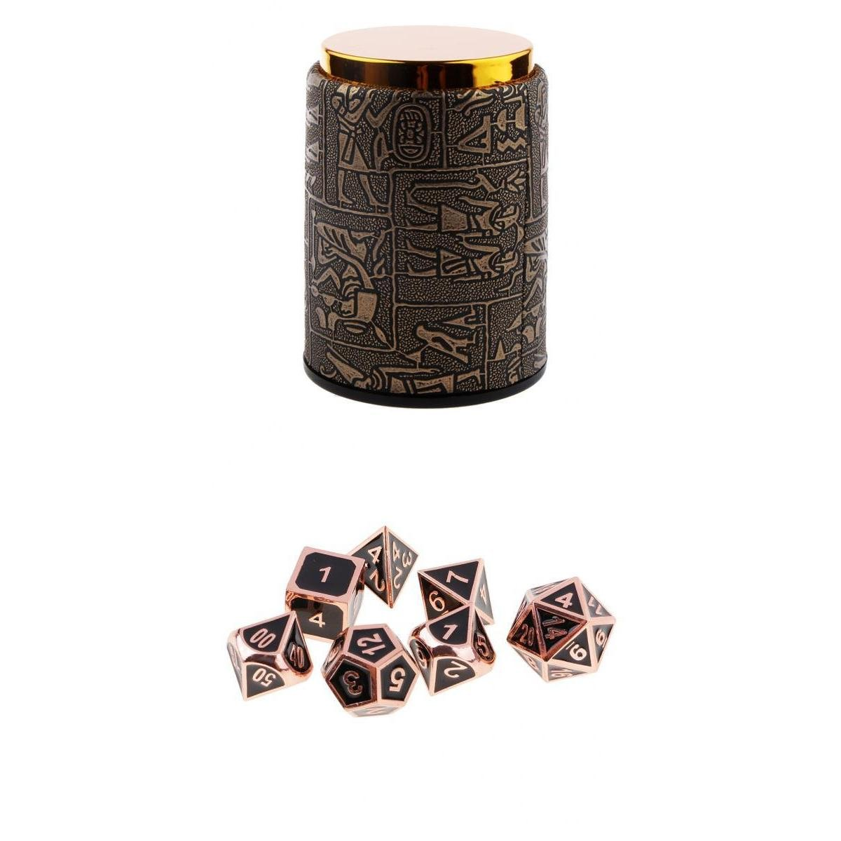MagiDeal 7 Set Metal Polyhedral Dice for Dungeons and Dragons DND MTG +Dice Cup #2 non-brand