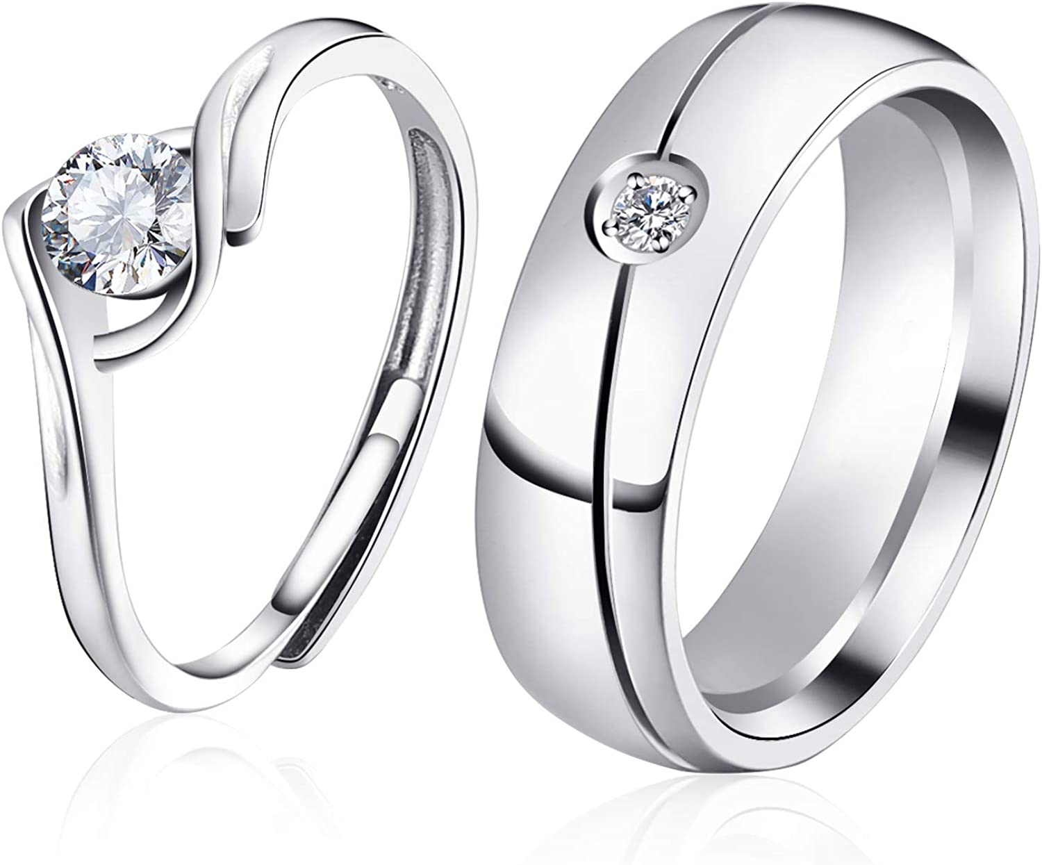 AVECON Matching Wedding Ring Set for Couple Family Ring Caved Adjustable 925 Sterling Silver Rings Cubic Zircon Promise Engagement Bands