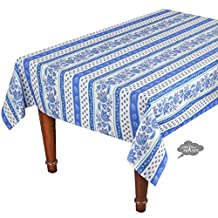 """60x96"""" Rectangular Lisa White Cotton Coated Provence Tablecloth by Le Cluny"""