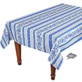 60x96'' Rectangular Lisa White Cotton Coated Provence Tablecloth by Le Cluny