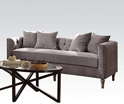 Acme Furniture ACME Sidonia Gray Velvet Sofa With 4 Pillows