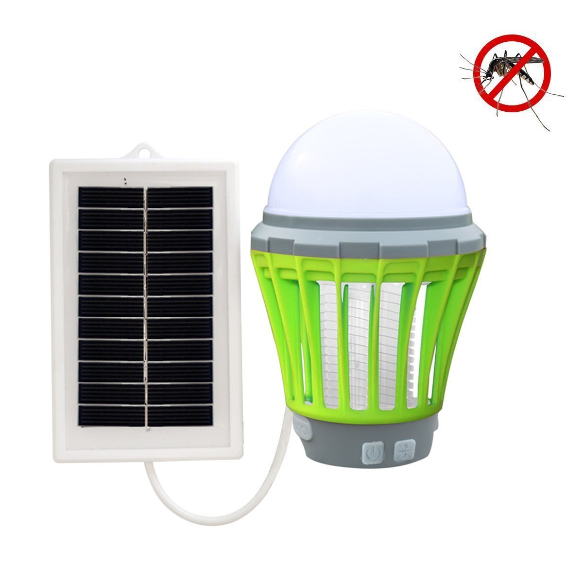 MUEQU 2-in-1 Solar Camping Lantern Mosquito Killer Lamp,Portable Waterproof Rechargeable Mosquito Zapper Tent Light,Anti Bug Insect Repellent with Retractable Hook USB Charging and Solar Charging for Garden Courtyard Outdoor Indoor