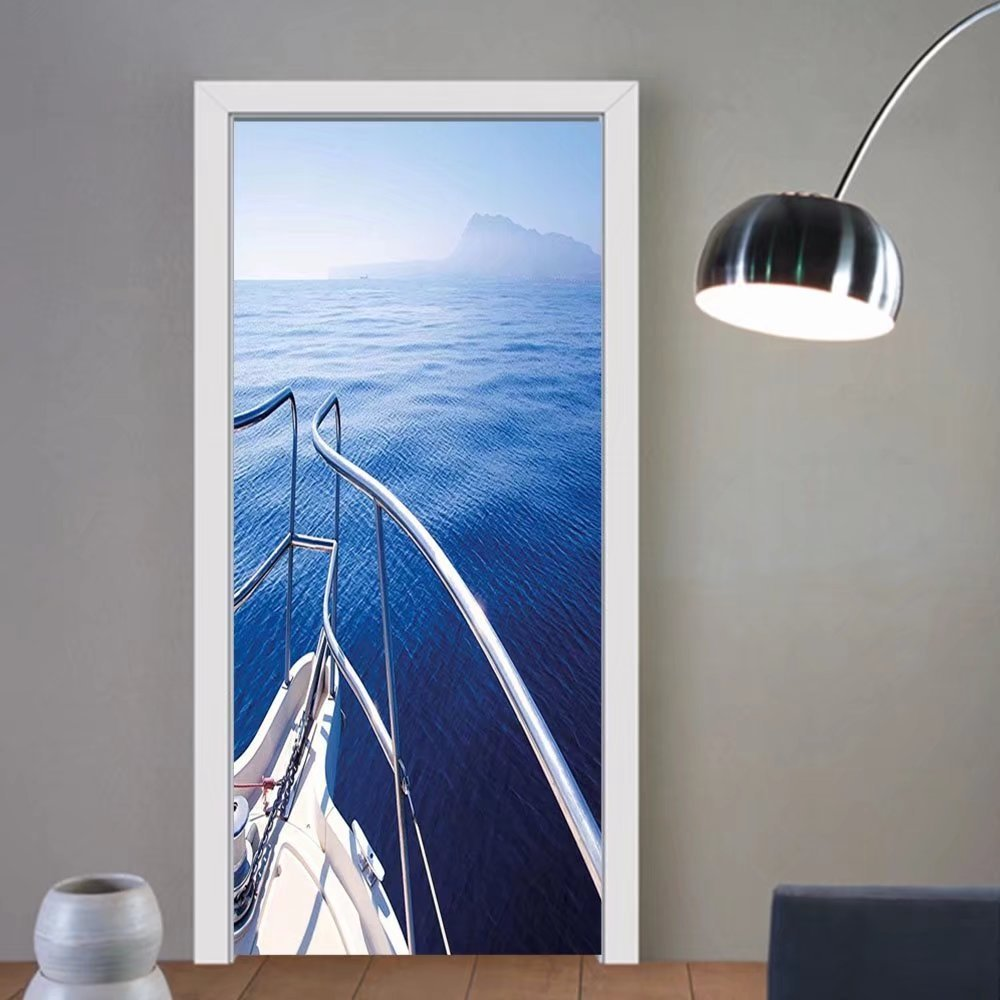 Gzhihine custom made 3d door stickers Navy Boat Show Ocean Sea Life with Luxury Ship LaUIFcape of IslaUIF Image Photo Navy Blue and White For Room Decor 30x79