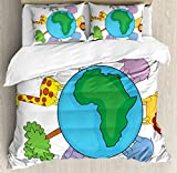 Zoo King Size Duvet Cover Set by Ambesonne, World Icon Africa Continent Cute Cartoon Animals Lion Giraffe Zebra Hippo Elephant, Decorative 3 Piece Bedding Set with 2 Pillow Shams, Multicolor