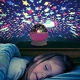 Liqoo® Sternenhimmel Projektor Sternenlicht Nachtlicht 360 Grad 4 LED-Korne Romantische Nacht Lampe Tischlampe drehbar Sterne Projektionslampe für Haus, Schlafzimmer, Kinder Zimmer, Weihnachten, Hochzeit, Geburtstag, Party Rosa