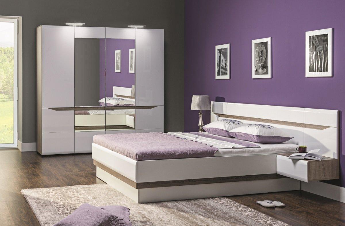 Schlafzimmer komplett LINN weiß hochglanz Set A Schrank 4-tür Soft ...