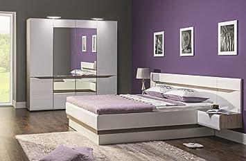 Schlafzimmer komplett LINN weiß hochglanz Set A Schrank 4 ...