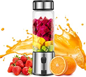 Electric Portable Blender, TOPQSC 5200mAh USB Rechargeable Personal Blender for Shakes and Smoothies with 15 oz Glass Blender Cup, FDA/BPA Free (Black)
