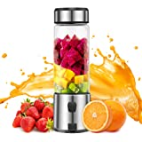 Personal Blender, TOPQSC Portable Blender 15oz USB Rechargeable 5200mAh, Smoothie Blender with Durable Glass, Stainless blades 16500rpm, Perfect for Shakes,Smoothies and Baby Food, FDA/ BPA Free (Black)