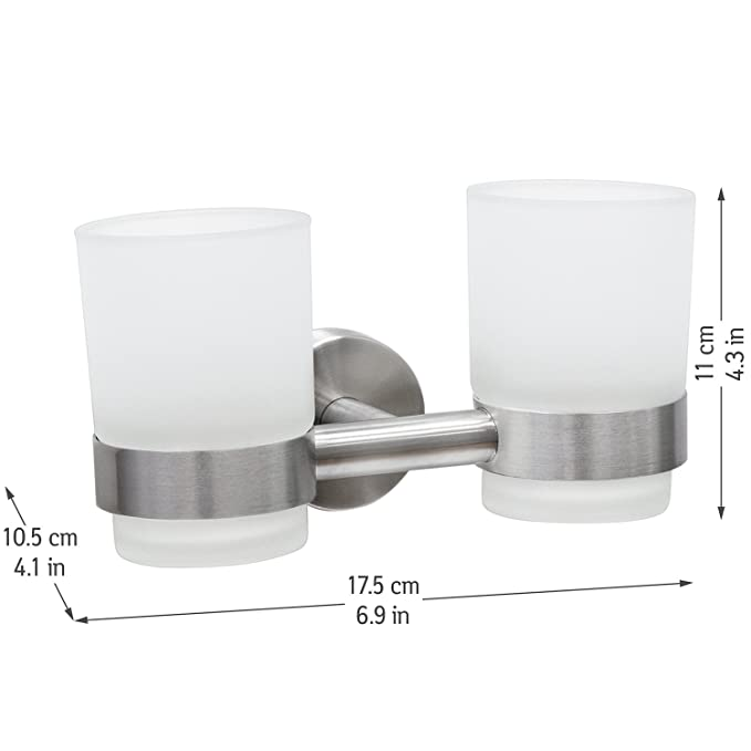 Amazon.com: Wonder Worker Dale Double Toothbrush Holder with Two Glass Tumbler Bathroom Organizer Glue Wall Mountable 7 X 4.3 X 4.1: Home & Kitchen