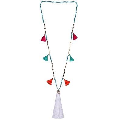 4dbd1517f5ff KELITCH Rebordeado Collar Babero Cadena Multicolor Borla Largo Hebra Playa  Amistad Collar (Blanco UN)