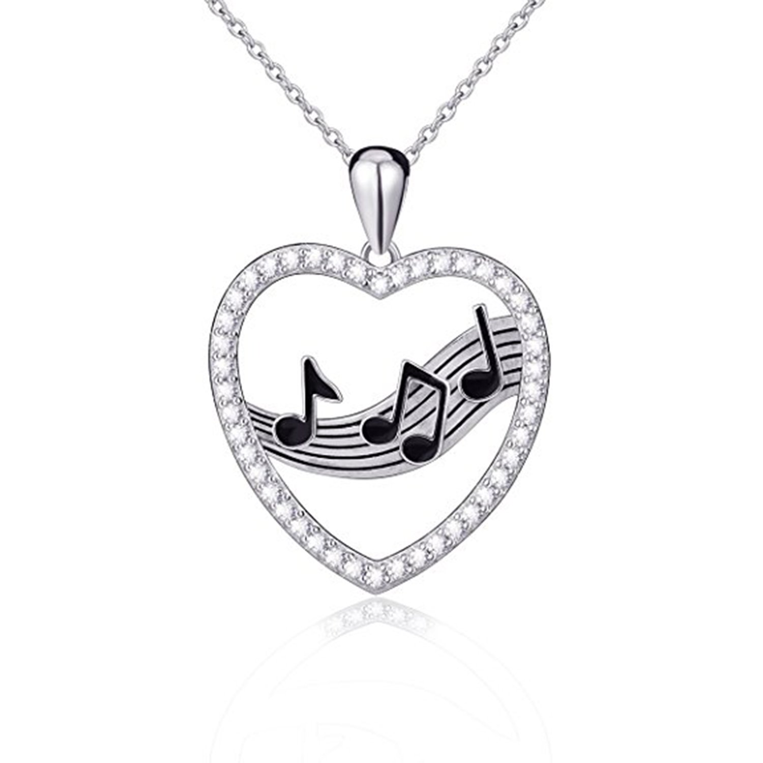 Ashley Jewels Simulated Diamond Studded Musical Sign Pendant Necklace in 14K Yellow Gold Plated With Box Chain
