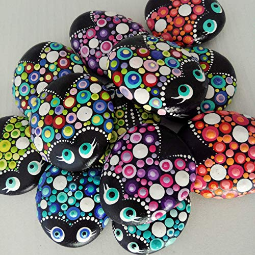 (MINI Ladybugs - SET OF 5 Painted Stone Fairy Garden Gift Decoration Painted rock Beachstone, Lucky charm gifts for friends and family )
