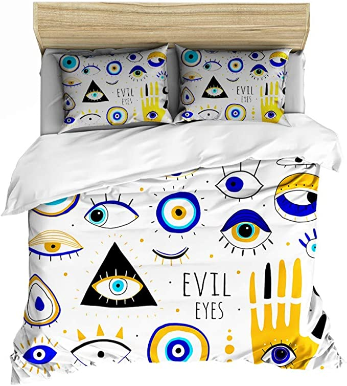 Amazon Com Moumouhome 100 Microfiber Cartoon Doodle Painting 3d Bed Linen Sets For Kids 3d Various Evil Eyes Duvet Cover Bedding Set Twin Size No Comforer Zipper Closure White Kitchen Dining