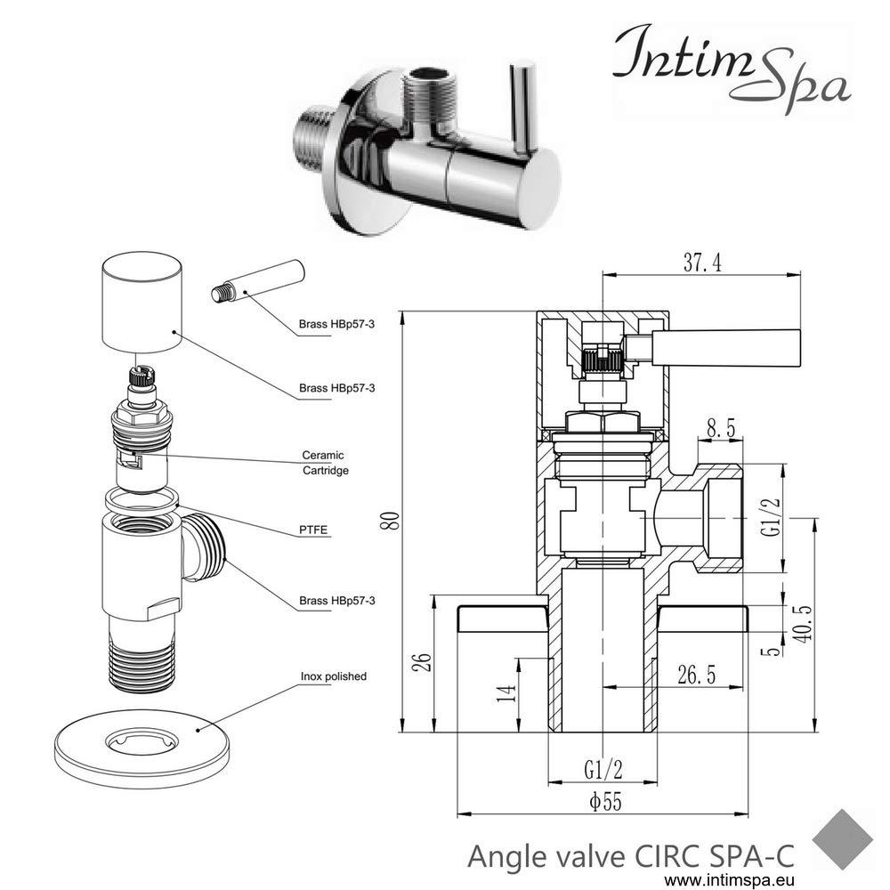 doccetta per bidet IntimSpa CIRC tubo doccia in acciaio inox e supporto per doccetta Kit bidet musulmano. Set per bidet rotondo in ottone cromato con valvola