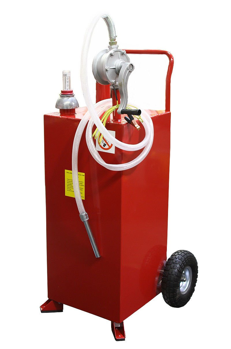 Stark 30 Gallon Gas Caddy Tank Gasoline Fluid Diesel Fuel Transfer Storage Dispenser with Pump, Red by Stark (Image #1)