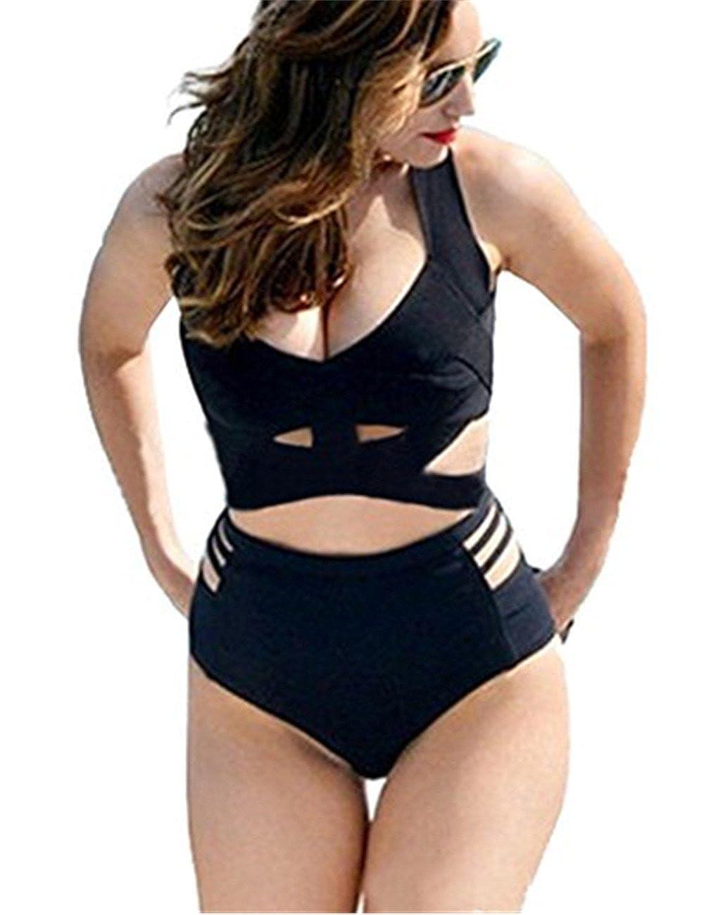 60869d06005 Amazon.com: GWELL High Waist Push up Women's Slimming Bikini Set 2 Piece  Swimsuit: Clothing