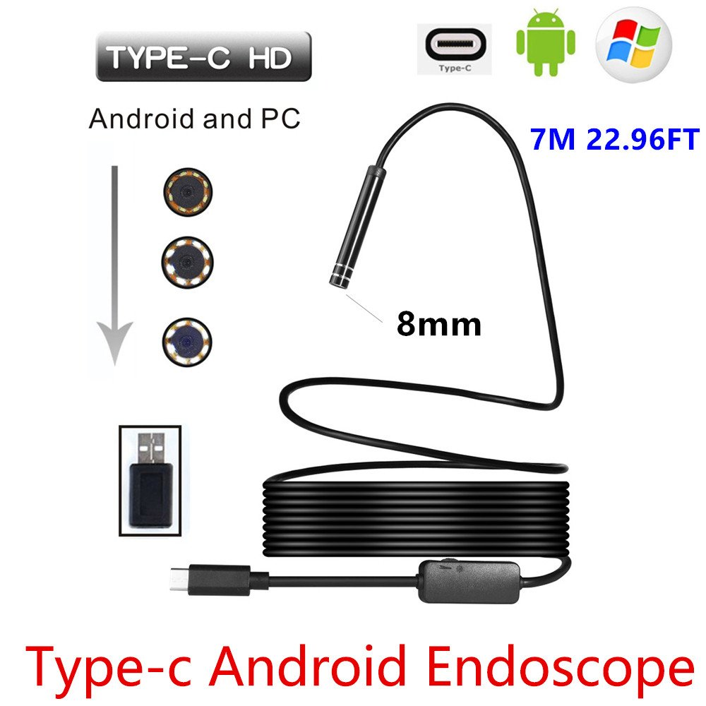 8mm 720P Megapixels HD Wireless 2in1 USB TYPE-C Endoscope Borescope, Waterproof Inspection Snake Camera for Android /MacBook OS with 8pcs LED Adjustable Brightness (5M 16.4FT) CACHOR KQL053