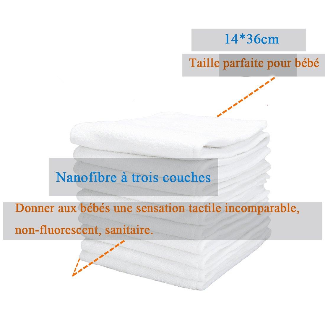 Ajustable+12*Inserts+1*Sac Portable IMMIGOO/® Taille Unique en Nanom/ètre-microfibre Imperm/éable Waterproof R/éutilisable Lot de 25 Pi/èces=12*COUCHES LAVABLES B/éb/é 3-13kg