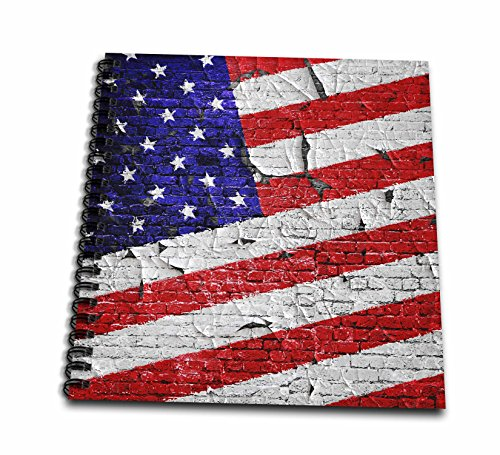 3dRose Phil Perkins - USA - Vintage American Flag On Brick Wall - Memory Book 12 x 12 inch (db_265159_2) (Supply Perkins)