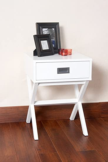 White Finish Modern X Shape Accent Side End Table Nighstand With Drawer