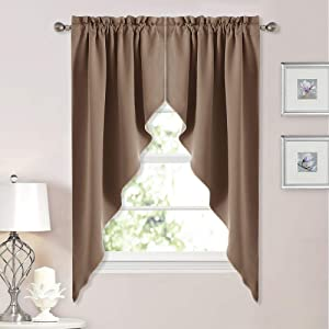 "NICETOWN Blackout Kitchen Tier Curtains- Tailored Scalloped Valance/Swags for Living Room (2 Panels, 36"" W X 63"" L Each Panel, Cappuccino)"